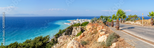 Panoramic view of sea bay and town of Rhodes. Rhodes island, Greece