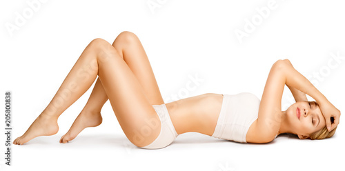 Fotografie, Obraz  Body Beauty, Slim Woman in Cotton Underwear Lying Down on Back, Happy Dreaming G