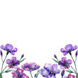 Violet flax. Floral botanical flower. Frame border ornament square. Aquarelle wildflower for background, texture, wrapper pattern, frame or border.