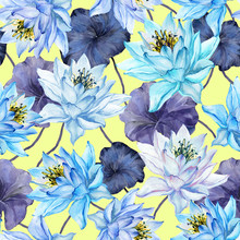Beautiful Floral Seamless Pattern. Large Blue Lotus Flowers With Purple Leaves. Exotic Background. Hand Drawn Illustration. Watercolor Painting.