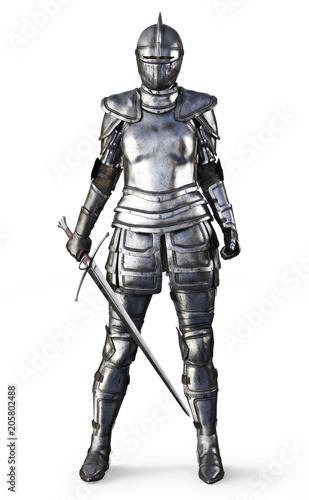 Female knight on an isolated white background. 3d rendering Canvas Print