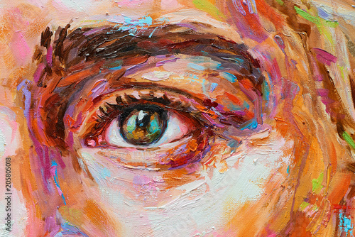 Cuadros en Lienzo Painting female colorful portrait oil eye close up on canvas
