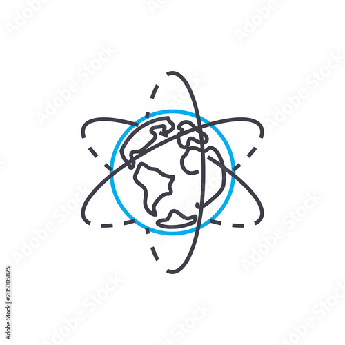 Plagát  Exploring geography line icon, vector illustration