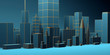Urban abstract background, futuristic blue city panorama. 3d illustration.