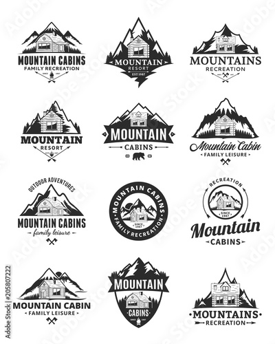 Photo Vector mountain recreation and cabin rentals logo