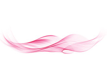Vector Pink Abstract Decorative Wave Isolated On White Background
