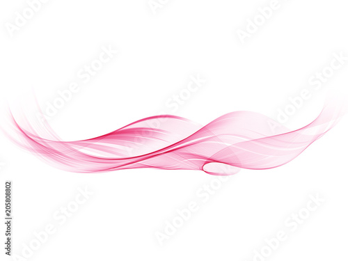 Fototapeta Vector pink abstract decorative wave isolated on white background obraz na płótnie