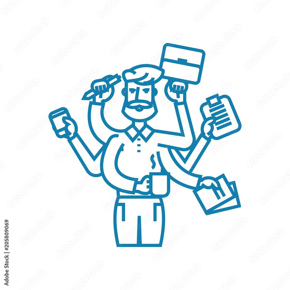Fototapeta Huge workload line icon, vector illustration. Huge workload linear concept sign.