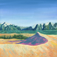 Sand Dune Illuminated By The Sun Against The Backdrop Of The Mountain Range And The Blue Sky. Chara Sands. Oil Painting.