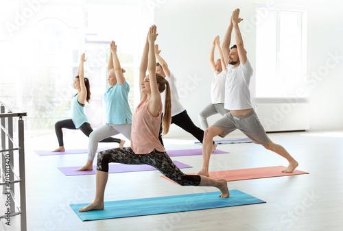 In de dag Ontspanning Group of people in sportswear practicing yoga indoors