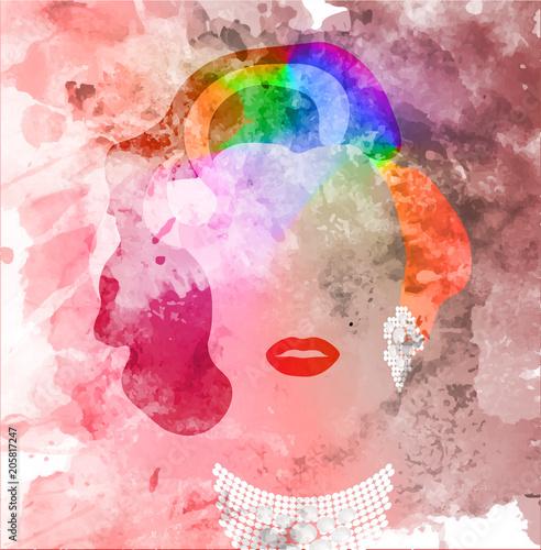 Canvas Print portrait of woman with rainbow hair
