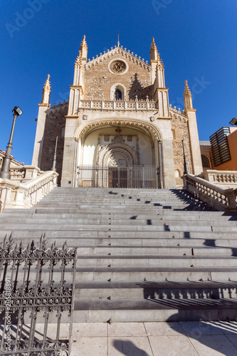 Amazing view of San Jeronimo el Rea church in City of Madrid, Spain