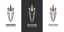 Stylized Geometric Unicorn Hea...