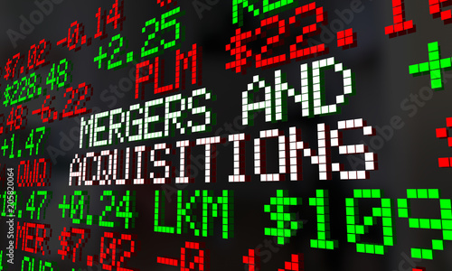 Photo Mergers and Acquisitions M&A Stock Market Ticker 3d Render Illustration