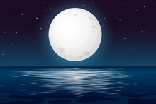 A Full Moon Night At The Ocean