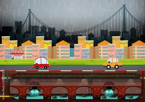 Papiers peints Jeunes enfants A Big Modern City Raining