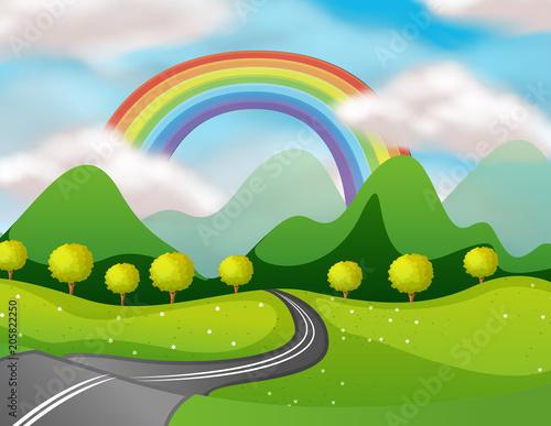 Papiers peints Jeunes enfants Beautiful Nature Road Under the Rainbow