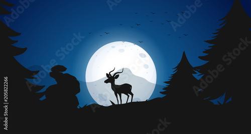 Papiers peints Jeunes enfants Silhouette Deer at Night Forest