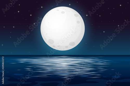 Canvas Prints Kids A Full Moon Night at the Ocean