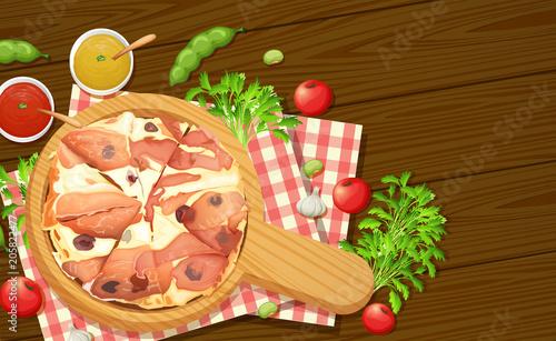 Papiers peints Jeunes enfants Italian pizza aerial view