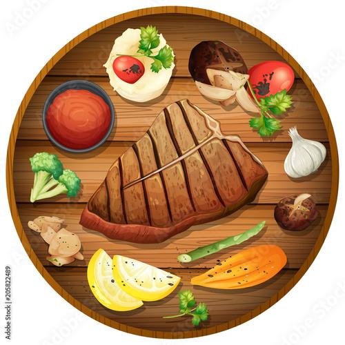 Papiers peints Jeunes enfants Steak dinner on round platter