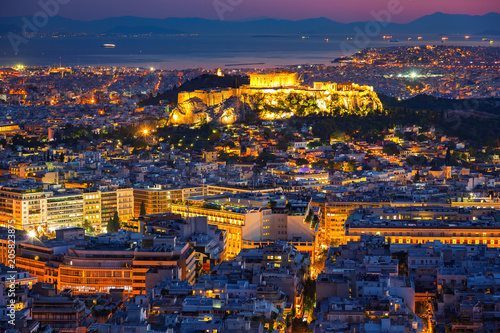 Tuinposter Canarische Eilanden Panoramic aerial view of Athens, Greece at summer sunset