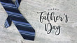 canvas print picture - Happy Father's Day Text with Striped Tie Over Light Wood Background