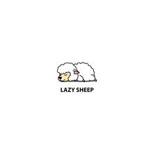 Lazy Sheep Sleeping Icon, Logo...