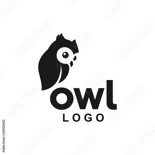Aluminium Prints Owls cartoon baby owl logo icon cute animal vector