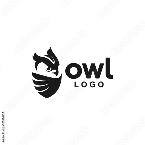 Spoed Foto op Canvas Uilen cartoon Owl Logo icon animal shield wing creative