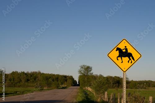 Poster Nieuw Zeeland Horse Crossing Sign on a Rural Road