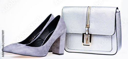 a433cc3a2e4 Pair of fashionable high heeled shoes and silver purse. Shoes made out of  grey suede on white background. Footwear for women with thick high heels and  bag