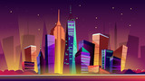 Fototapeta Nowy Jork - New York cityscape vector illustration. Cartoon New York landmarks in night, Freedom Tower on One World Trade Center and famous US America city buildings or skyscraper architecture with illumination