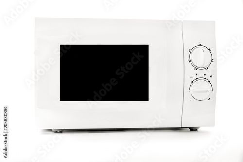 Microwave oven close up isolated on white background