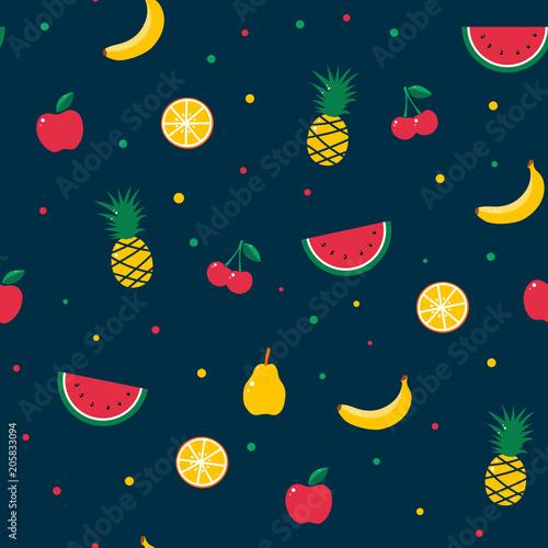owocowy-wzor-lato-egzotyczny-soczysty-arbuz-banan-jablko-pomaranczowy-cytrus-wisnia-ananas-tkanina-tekstylna-nowoczesny-modny-design-ilustracji-wektorowych-ciemne-tlo