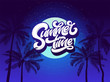 Summer Time Typography background with palm tree and night sky and moon. Vector lettering for sticker, banner, poster, broshure, flyer, card. Hand drawn lettering. Modern brush calligraphy. EPS10.