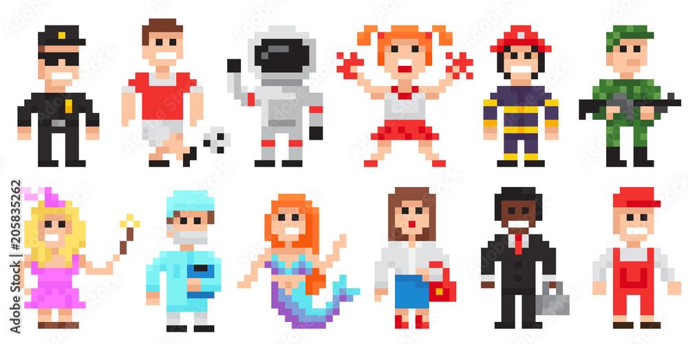 Fototapeta Pixel art characters set, professions pixel art people isolated design.