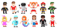 Pixel Art Characters Set, Professions Pixel Art People Isolated Design.