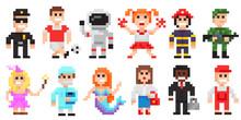 Pixel Art Characters Set, Prof...