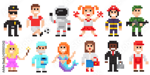 Pixel Art Characters Set Professions Pixel Art People Isolated Design Buy This Stock Vector And Explore Similar Vectors At Adobe Stock Adobe Stock