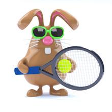 3d Easter Bunny Tennis Star