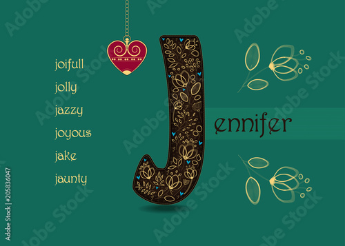 Name day greeting card with flowers and letter j buy this stock name day greeting card with flowers and letter j m4hsunfo