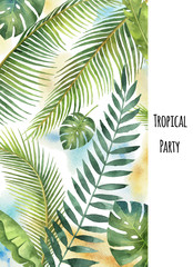 FototapetaWatercolor vector banner tropical leaves and branches isolated on white background.