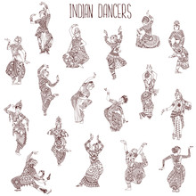 A Set Of Indian Dancers. Girls In Different Oriental Dance Poses. Decorated Silhouettes In The Style Of Mehndi.