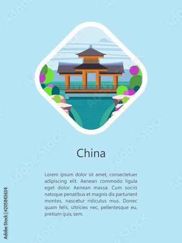 Fotobehang Lichtblauw China. Vector illustration.