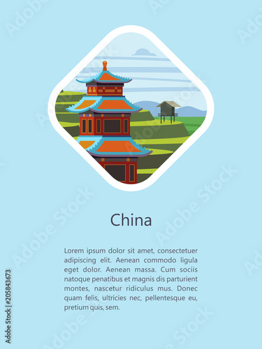 Foto op Canvas Lichtblauw China. Vector illustration.