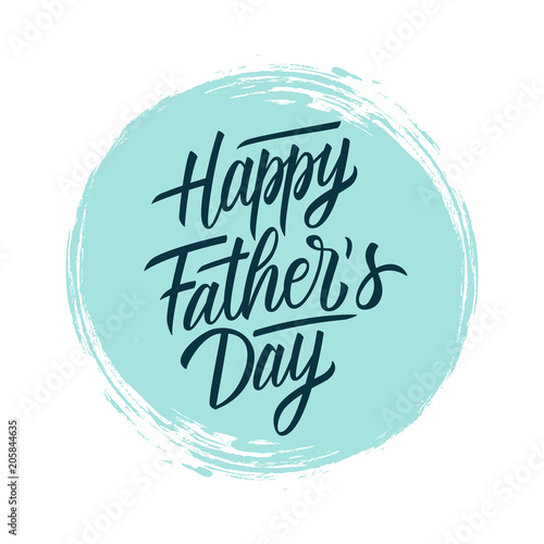 Fotografía  Happy Father's Day handwritten lettering text design on blue circle brush stroke background