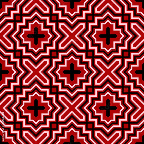 czarno-bialy-geometryczny-wzor-na-czerwonym-tle