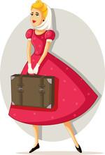 Retro Travel Girl Vector Cartoon