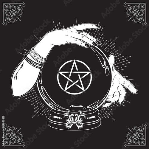 Photo Hand drawn magic crystal ball with pentagram star in hands of fortune teller line art and dot work